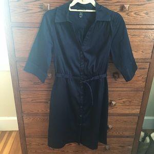 H+M navy blue belted shirt dress